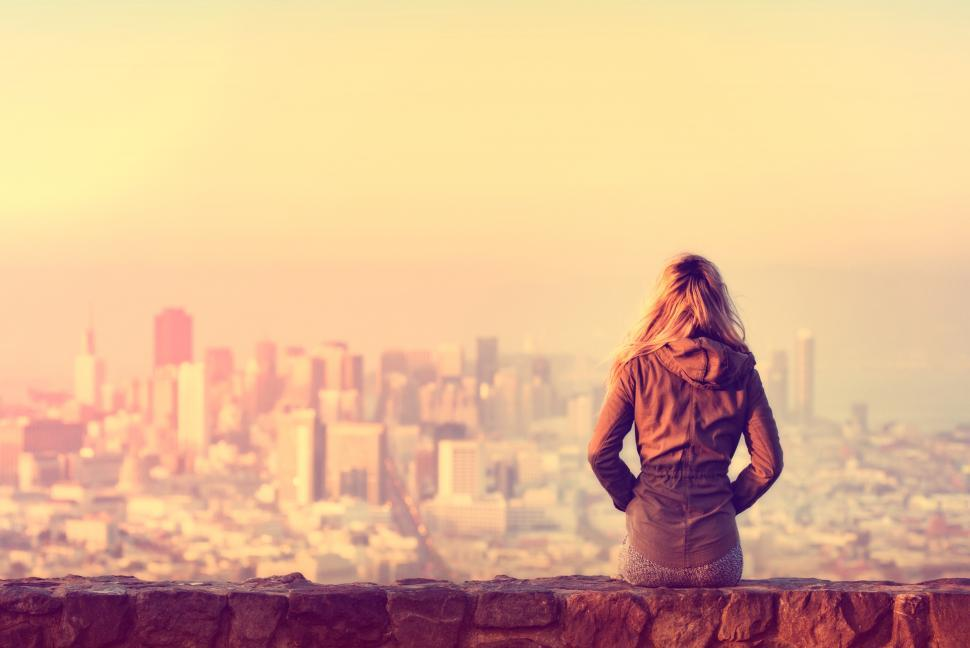 Download Free Stock Photo of Hazy Vintage Looks - Girl Looking Over the City