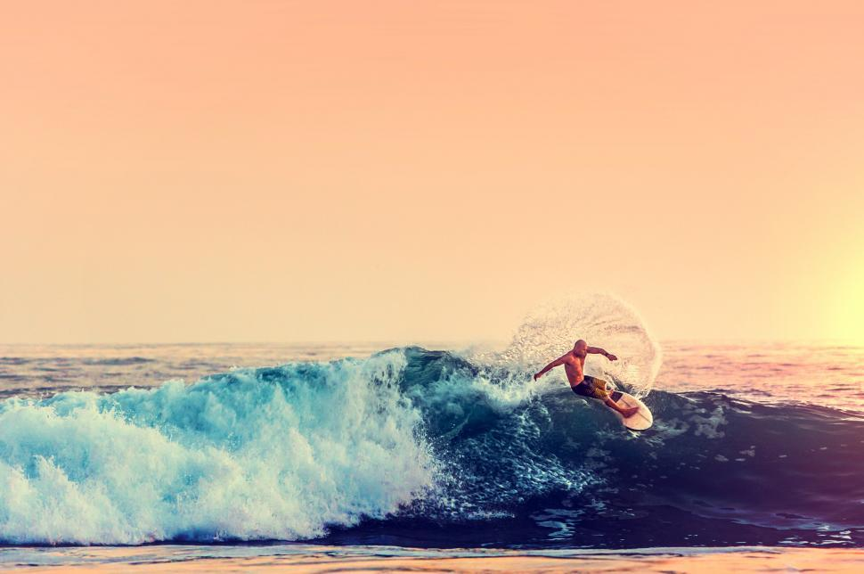 Download Free Stock Photo of Surfer at Sunset - Color Filtered
