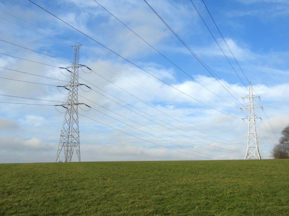 Download Free Stock Photo of Overhead power lines