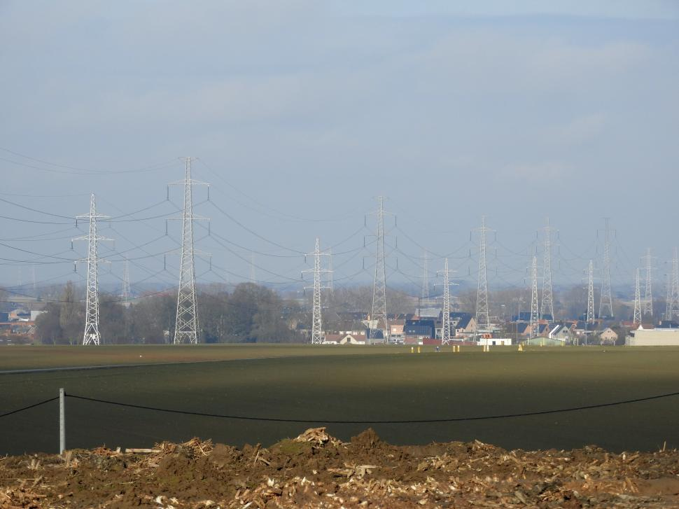 Download Free Stock HD Photo of Distant Overhead power lines  Online