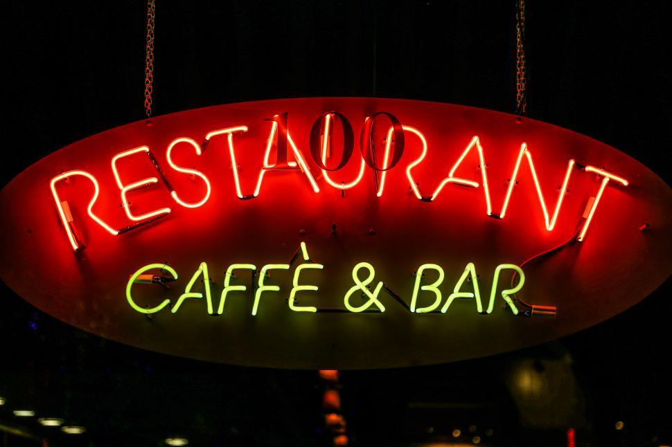 Download Free Stock HD Photo of Neon Restaurant Sign Online