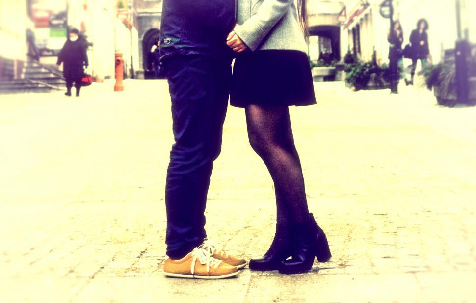 Download Free Stock Photo of Close Up of Legs - Couple Kissing - Vintage Grainy Looks