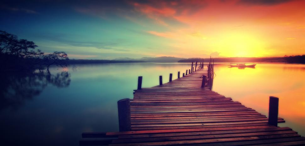 Download Free Stock Photo of Wooden Jetty at Sunset - Dreamy Looks