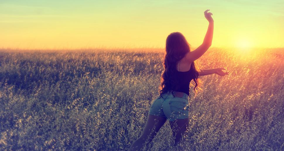Download Free Stock Photo of Girl Running in the Field at Dusk during Summer - Joy and Vitali