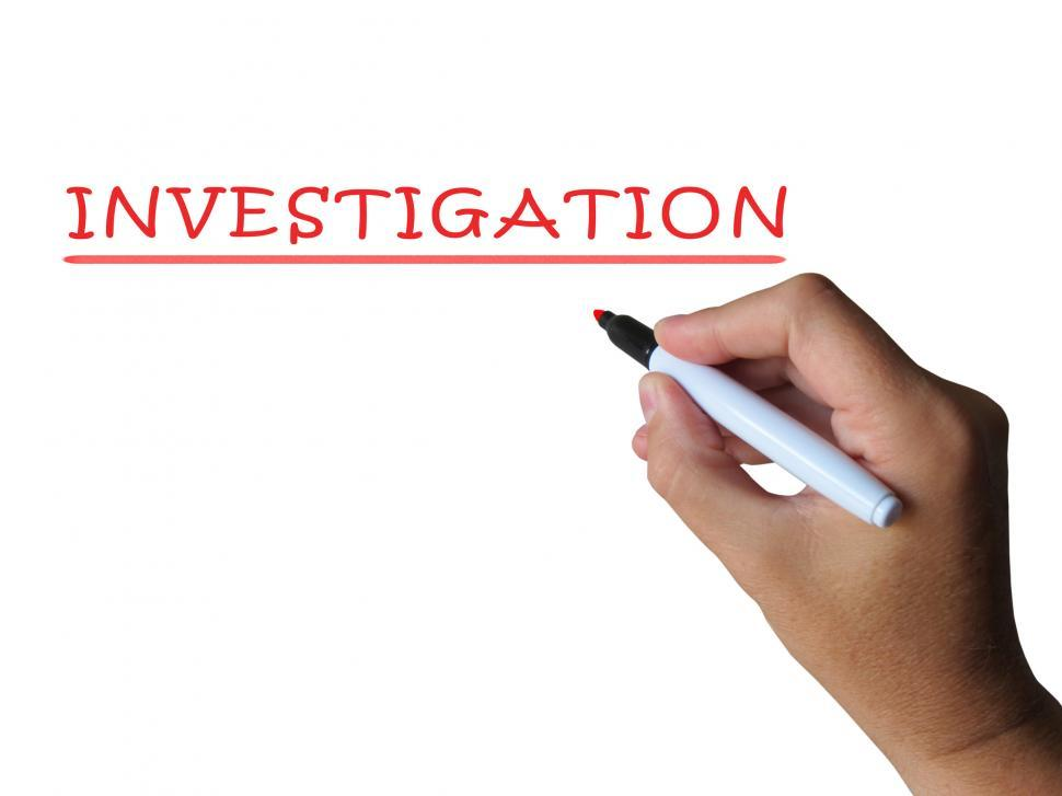 Download Free Stock Photo of Investigation Word Means Examination Inspection And Findings