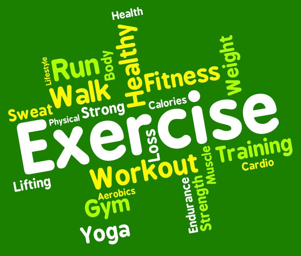 Download Free Stock Photo of Exercise Words Shows Working Out And Exercised