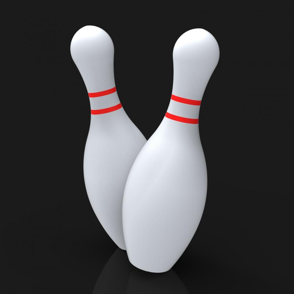 Download Free Stock Photo of Bowling Pins Show Skittles Game