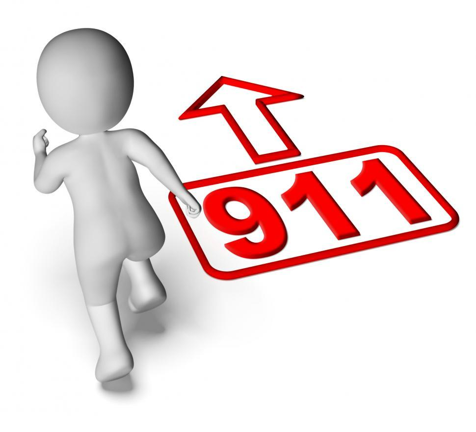 Download Free Stock Photo of Running Character And 911 Nine One Shows Emergency Help Rescue