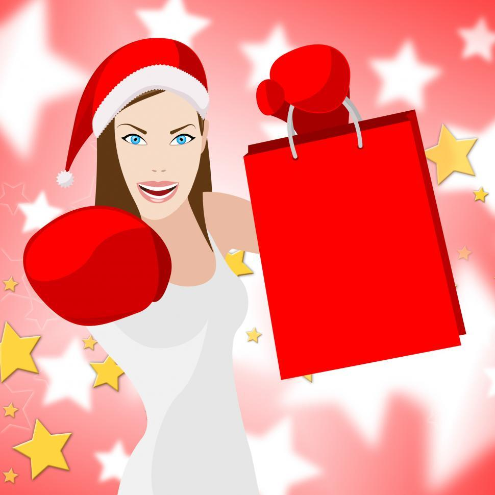 Download Free Stock HD Photo of Woman Christmas Shopping Means Retail Sales And Lady Online