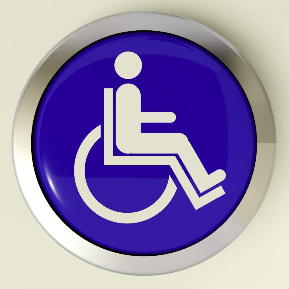 Download Free Stock Photo of Disabled Button Shows Wheelchair Access Or Handicapped