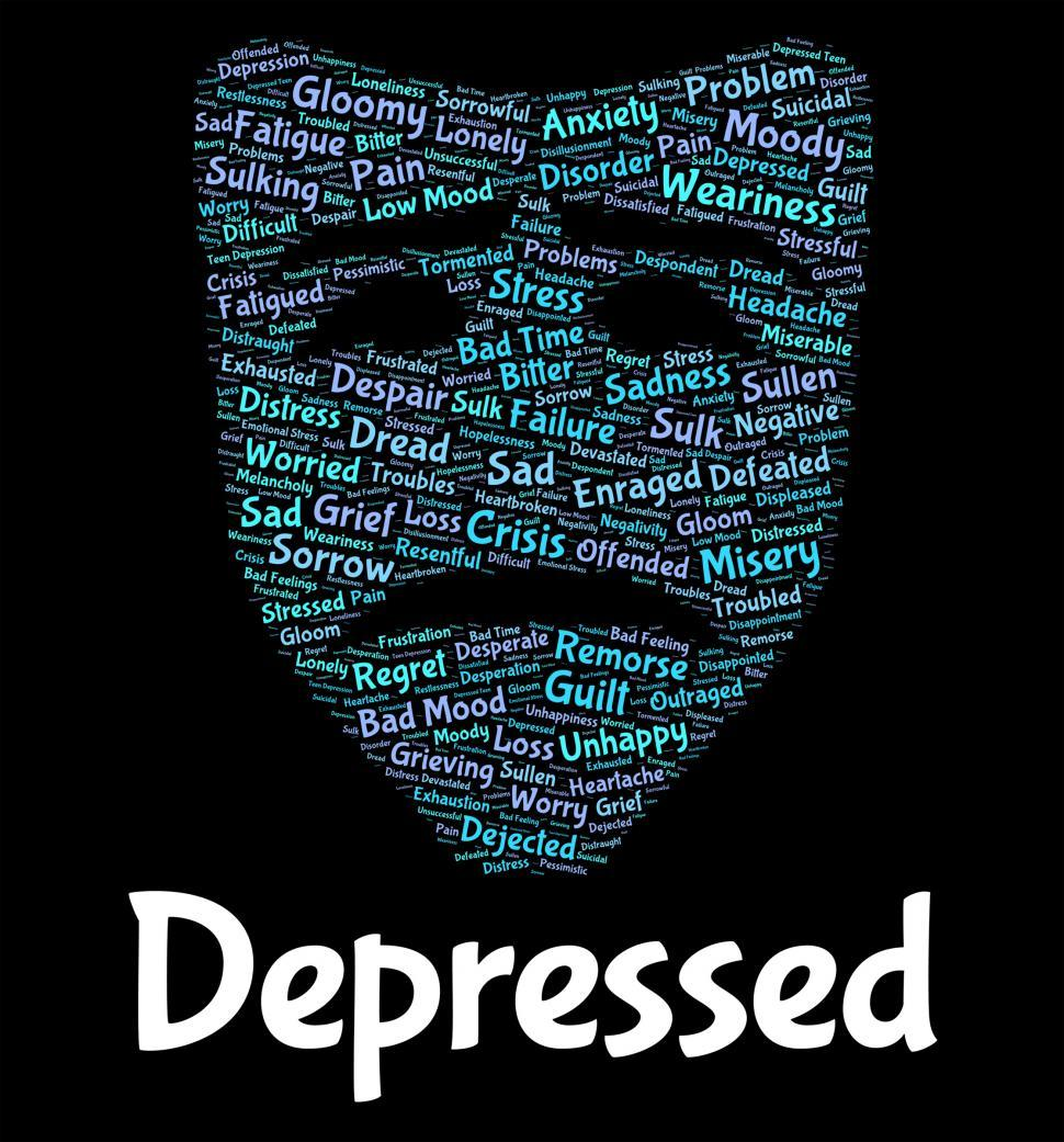 Download Free Stock HD Photo of Depressed Word Means Despair Words And Text Online
