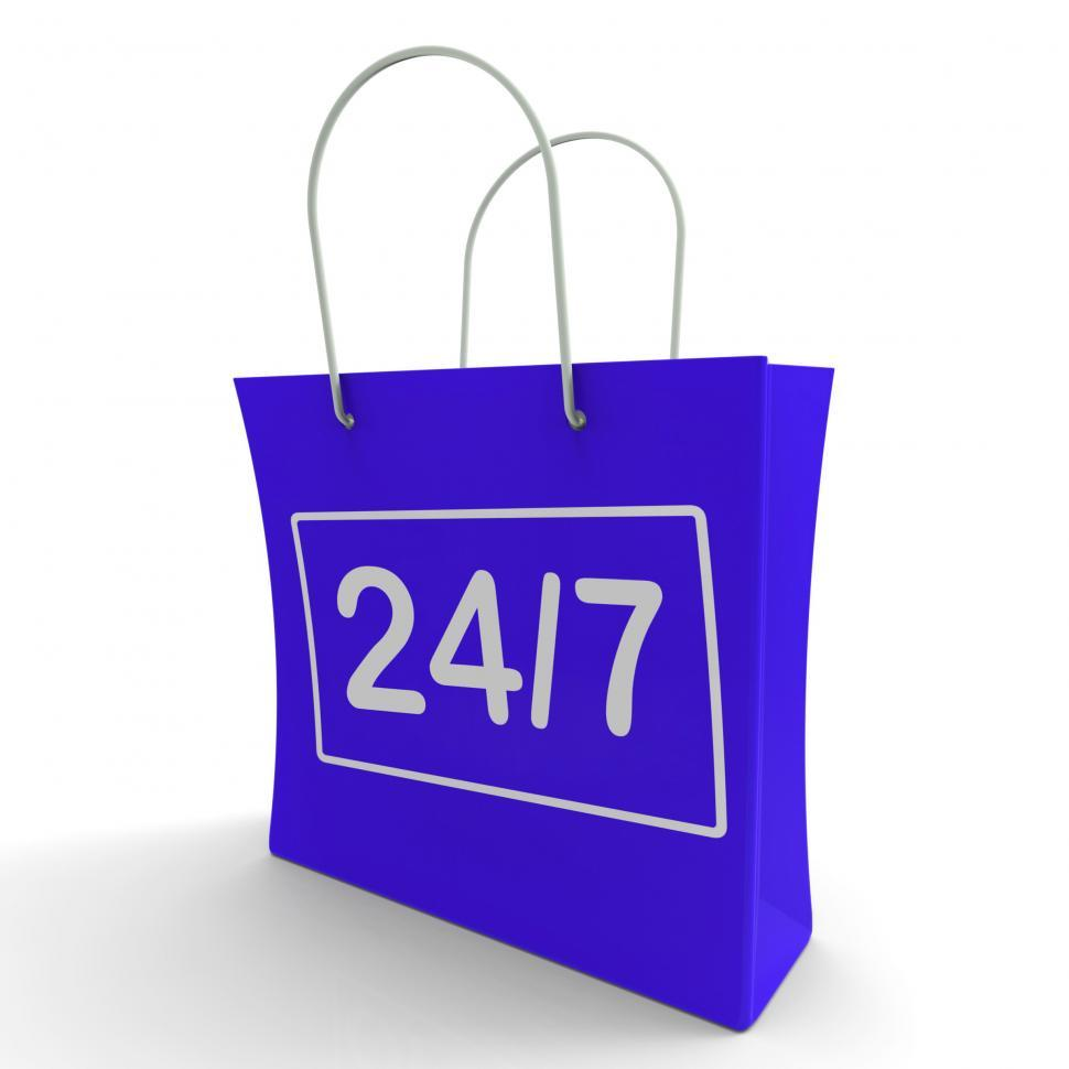 Download Free Stock Photo of Twenty Four Seven Shopping Bag Shows Open 247