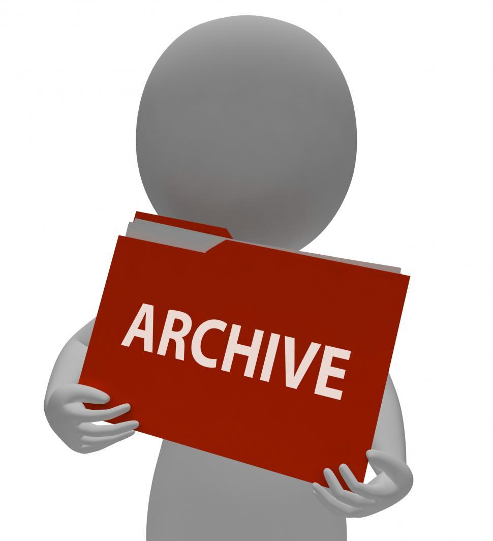 Download Free Stock Photo of Archive Folder Shows Data Storage 3d Rendering