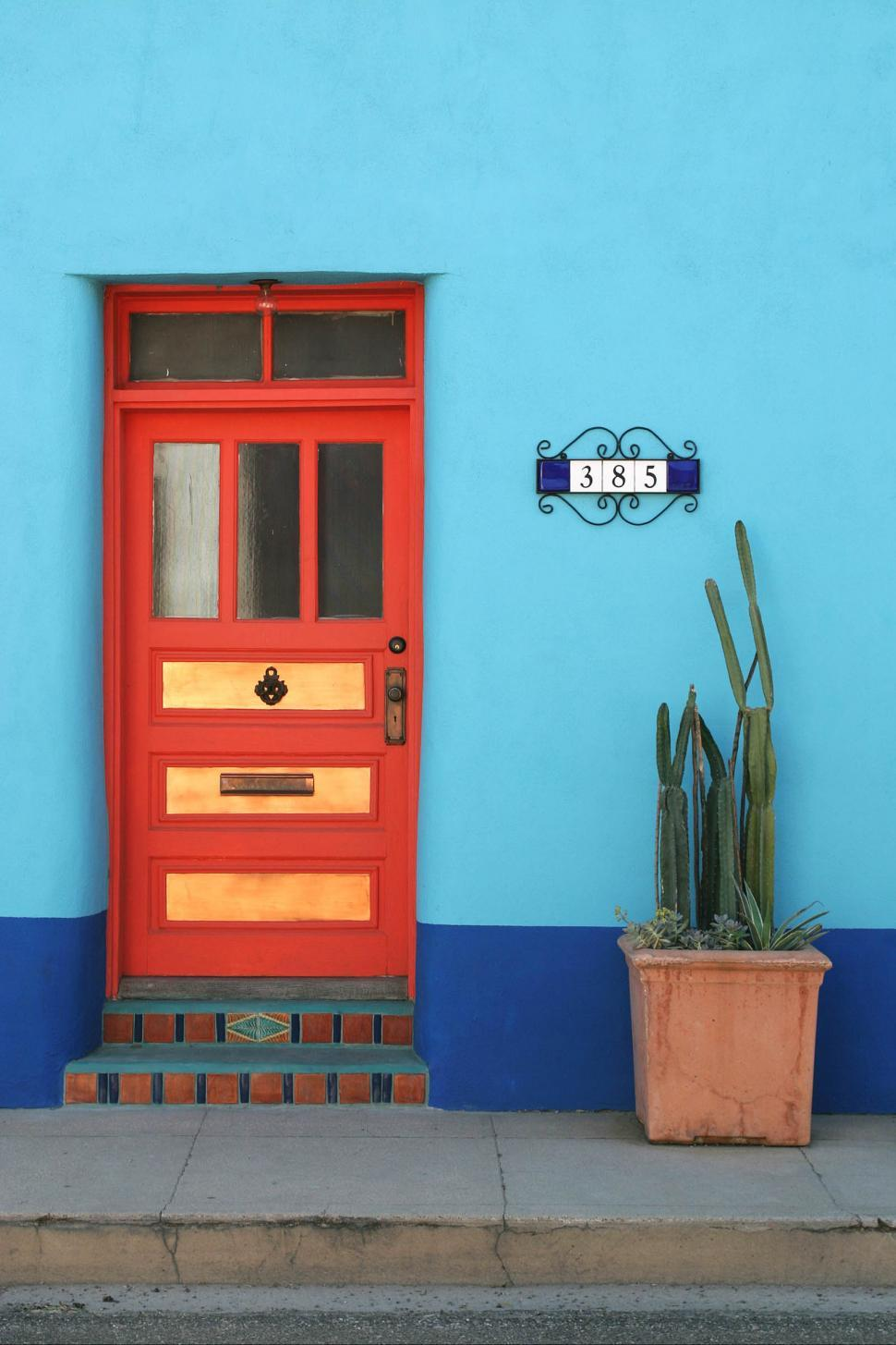 Download Free Stock Photo of colorful door doorway cactus planter sidewalk tile address steps window wall blue curb porch mail slot copper lock southwest tucson