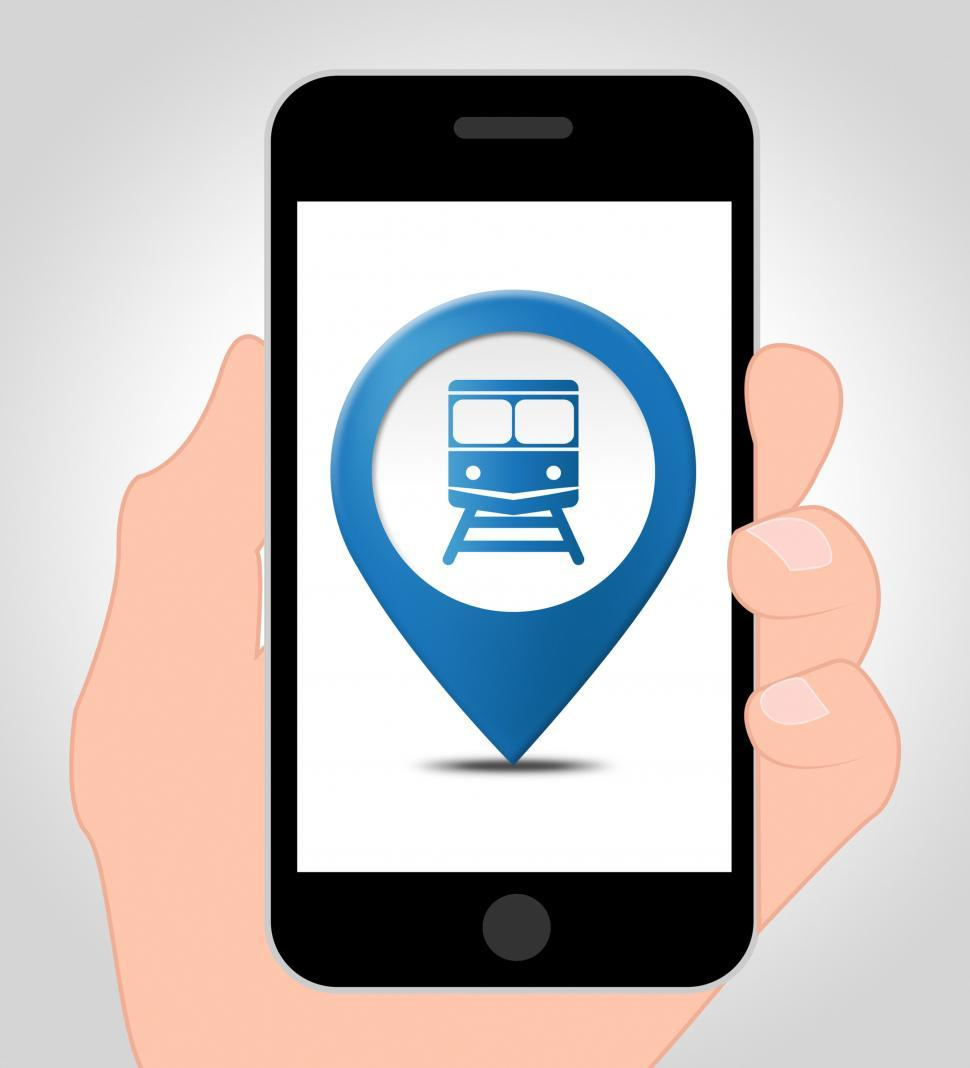 Download Free Stock Photo of Train Location Online Shows Mobile Phone Map 3d Illustration