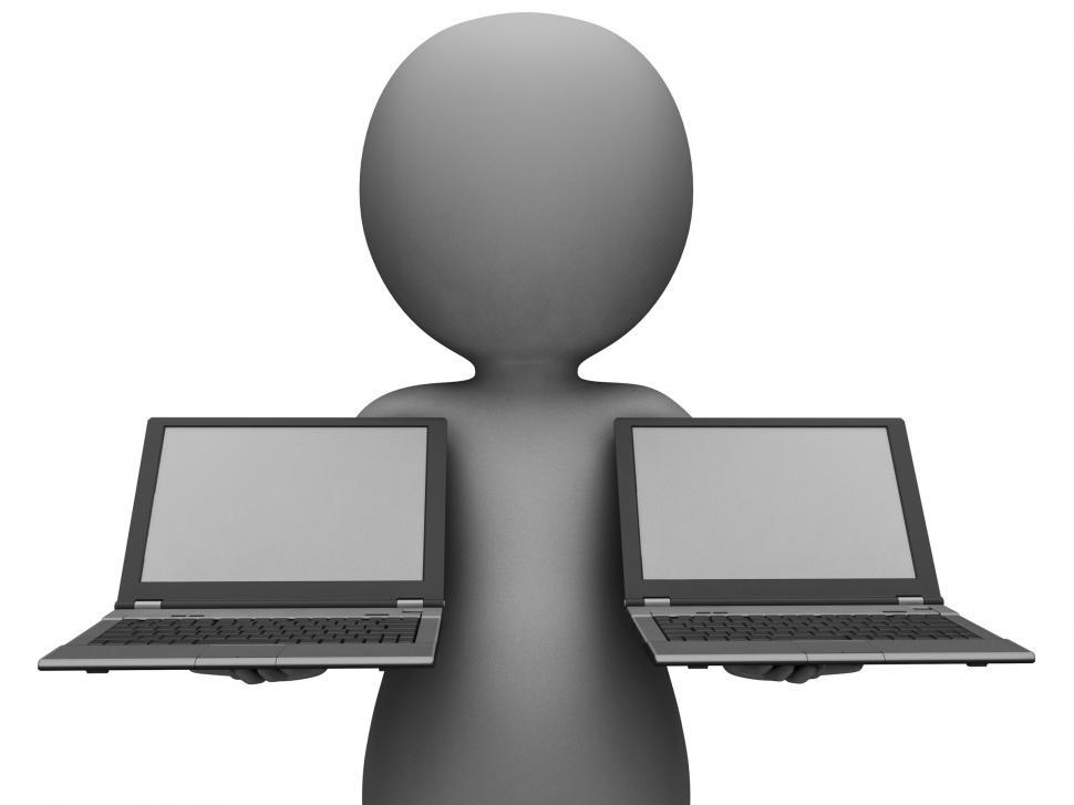 Download Free Stock HD Photo of Laptops And Character Showing Browsing Internet Online