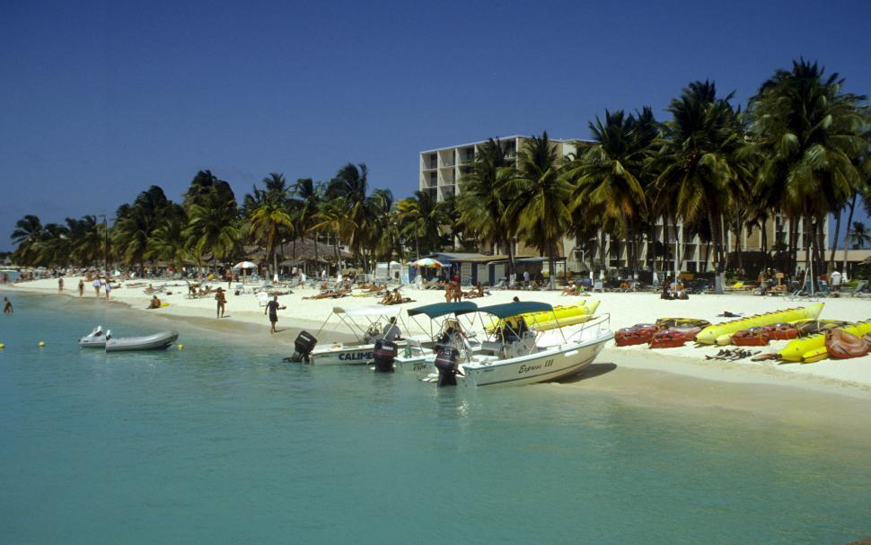Download Free Stock Photo of Tourist Boats and Hotels - Beach