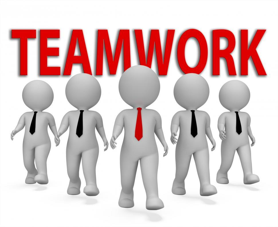 Download Free Stock Photo of Teamwork Businessmen Indicates Together Group 3d Rendering