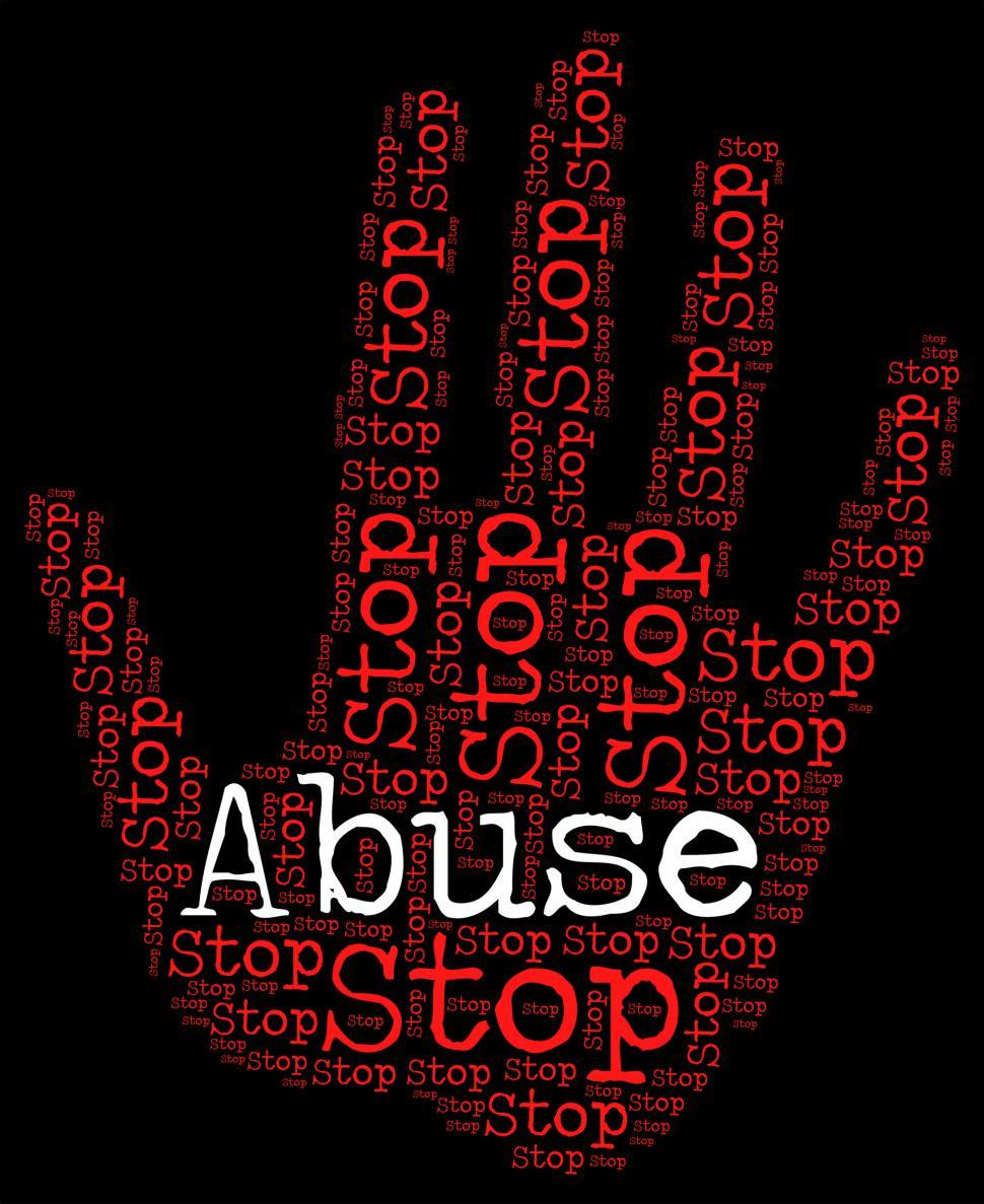 Download Free Stock Photo of Stop Abuse Shows Warning Sign And Abusing