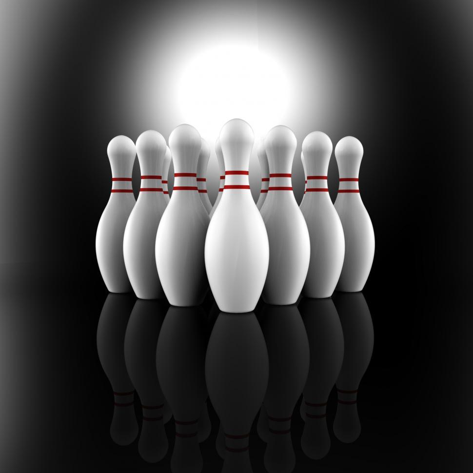 Download Free Stock Photo of Bowling Pins Showing Skittles Alley