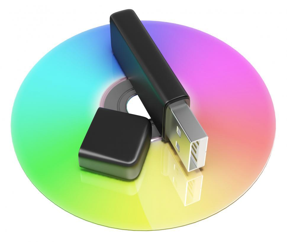 Download Free Stock Photo of Usb And Dvd Storage Shows Portable Memory