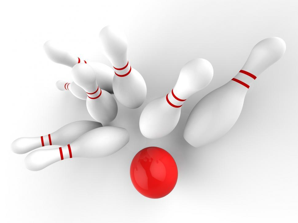 Download Free Stock Photo of Bowling Strike Showing Skittles Game Success