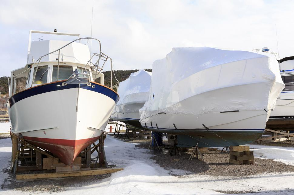 Download Free Stock HD Photo of Boats at the marina in winter Online
