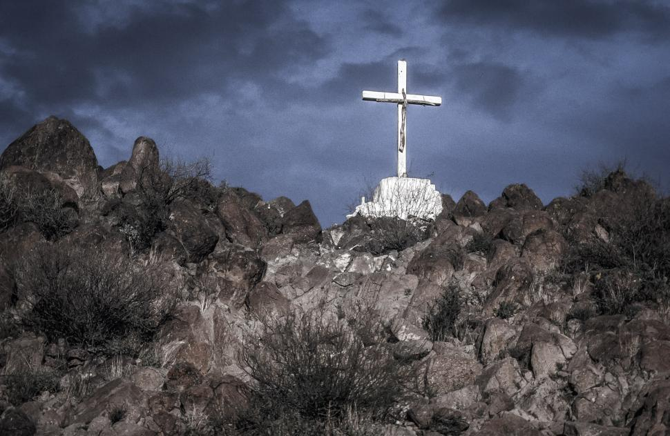 Download Free Stock Photo of White cross above Mission San Xavier del Bac