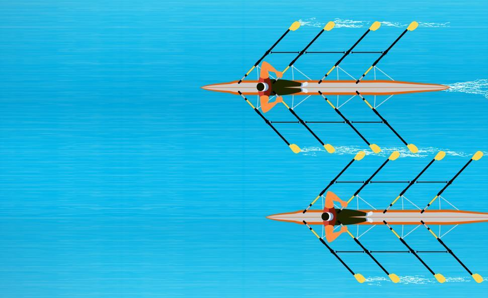 Download Free Stock Photo of Competitiveness -  Rowers Racing to the Finish Line - With Copys