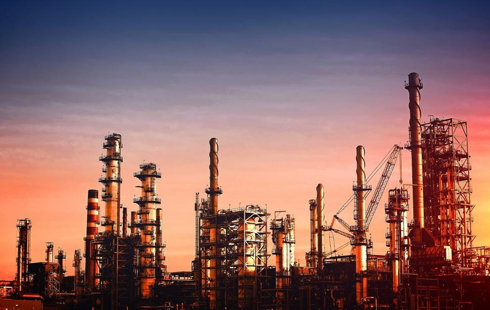 Download Free Stock Photo of Oil Refinery at Dusk - Vivid Colors