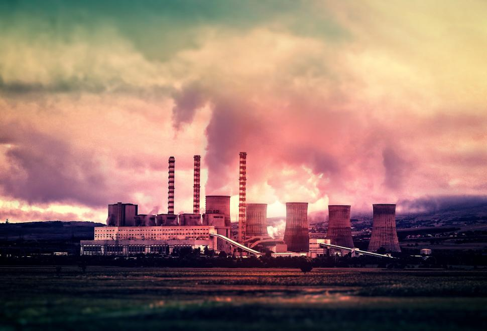 Download Free Stock Photo of Power Plant - Clouds and Smog