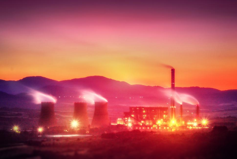 Download Free Stock Photo of Power Plant at Dusk