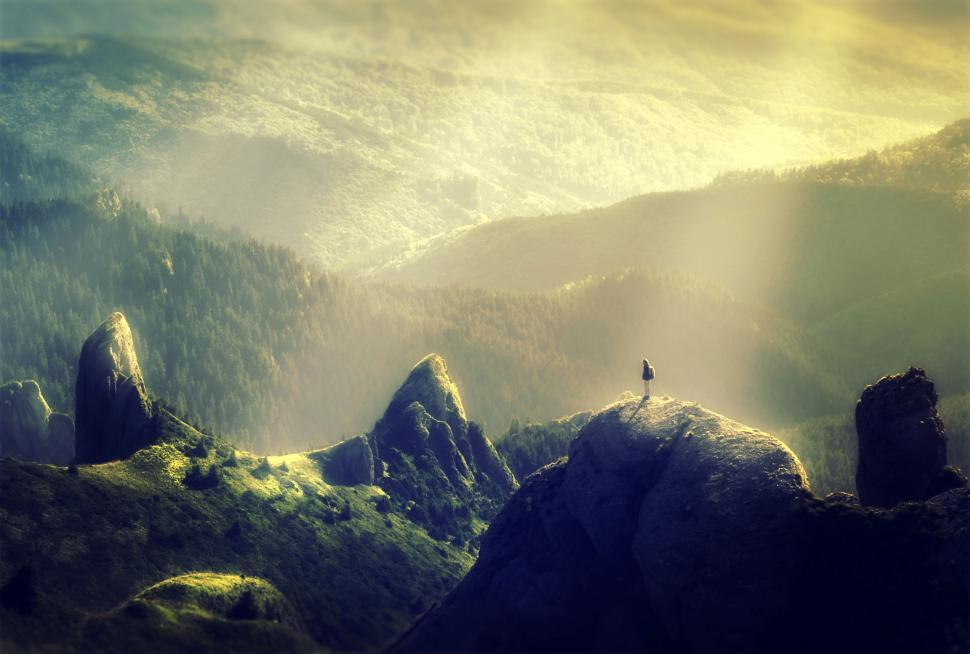 Download Free Stock Photo of Woman Alone at the Top of the Mountain