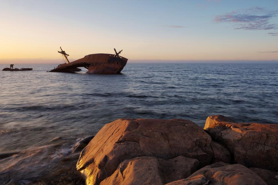 Download Free Stock HD Photo of Shipwreck with rocks Online
