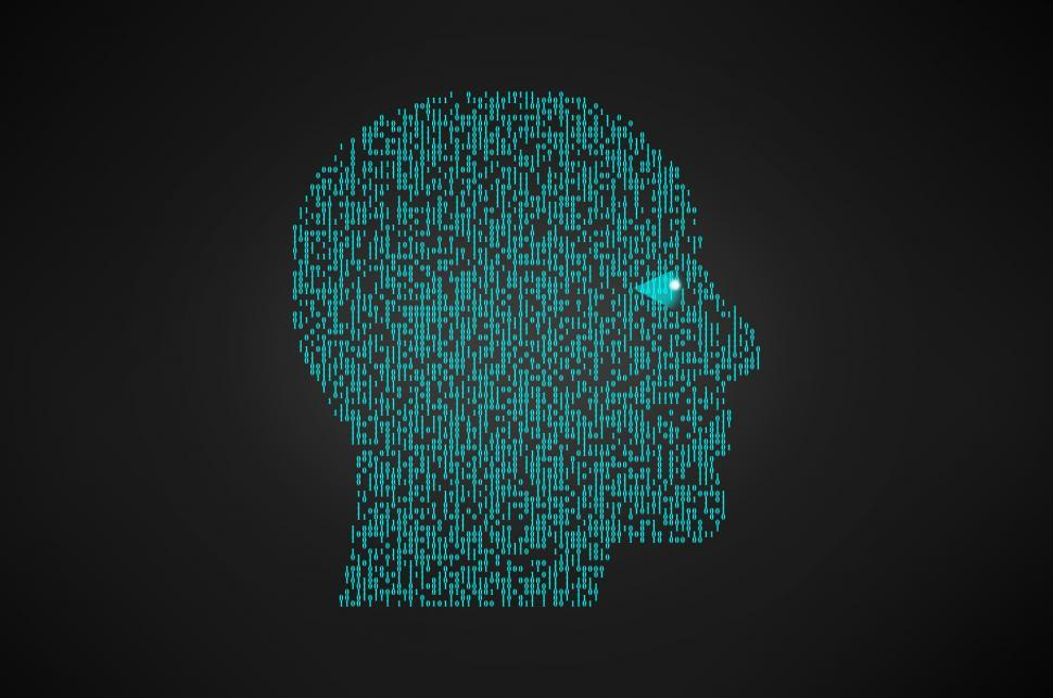 Download Free Stock Photo of Binary Head - Artificial Intelligence Concept
