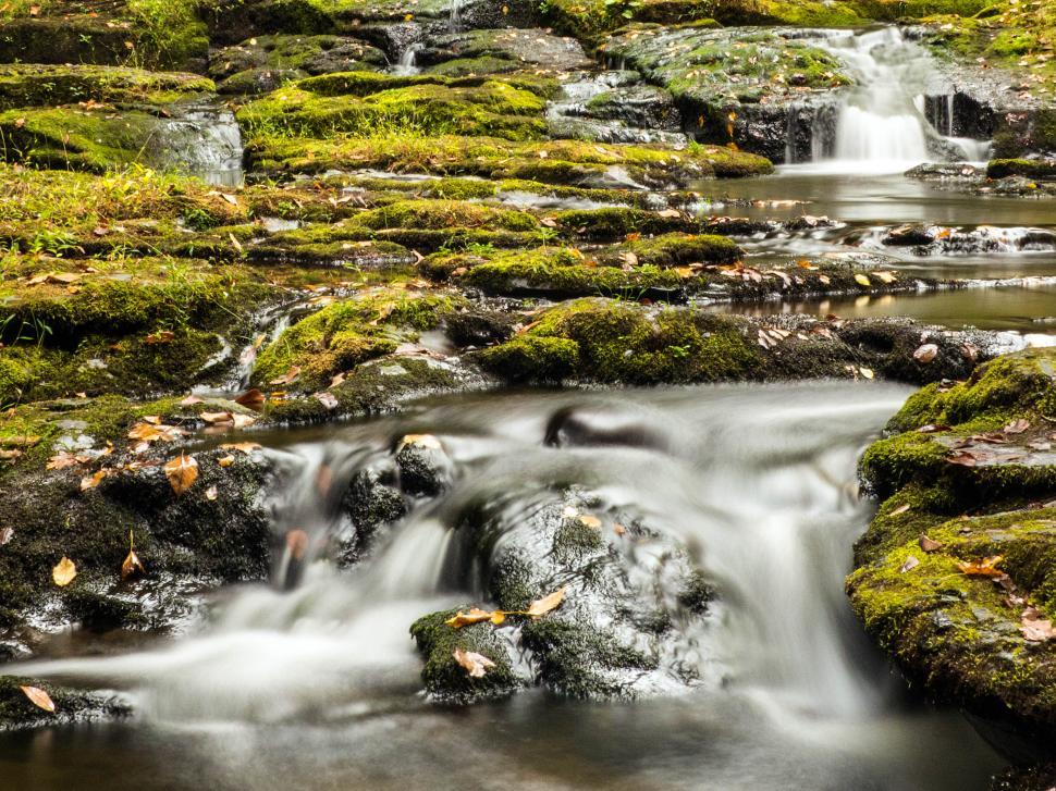 Download Free Stock HD Photo of Mossy Rocks and Small Waterfall Cascades Online