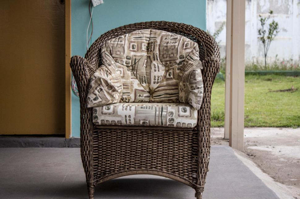Download Free Stock Photo of Woven wood luxury chair