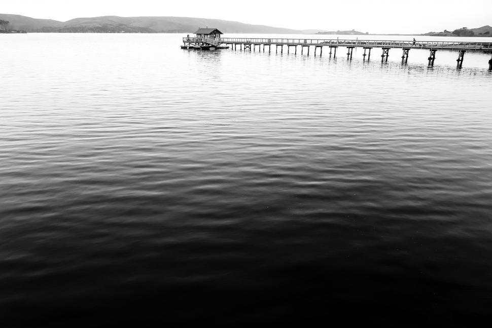 Download Free Stock Photo of Boat house on pier, black and white