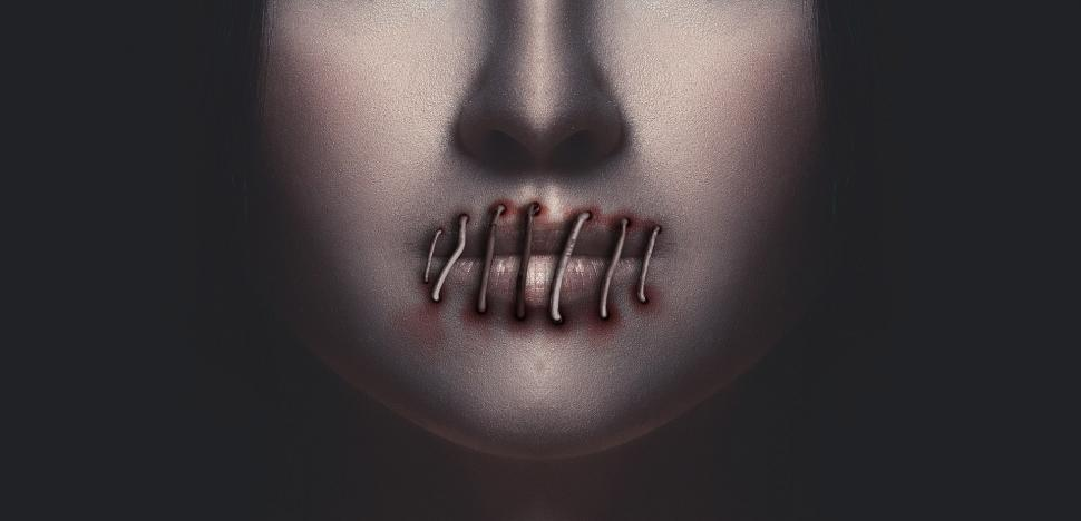 Download Free Stock Photo of Silenced woman