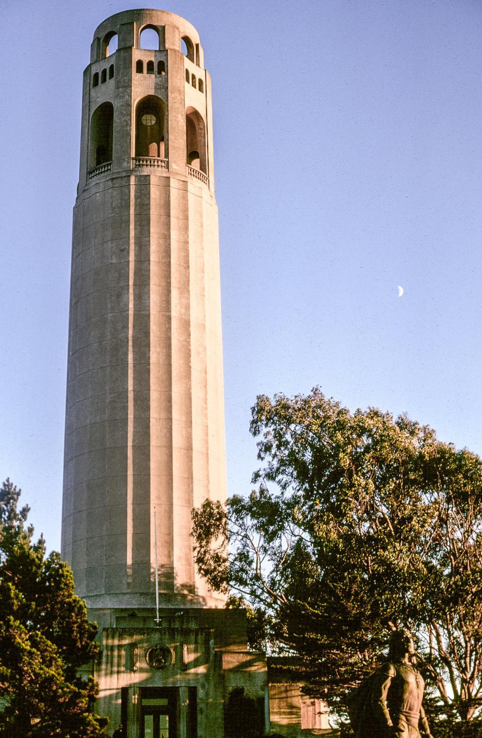 Download Free Stock Photo of Coit Tower with statue of Columbus
