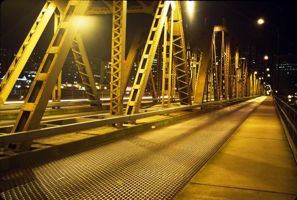 Download Free Stock HD Photo of Metal Bridge at night Online