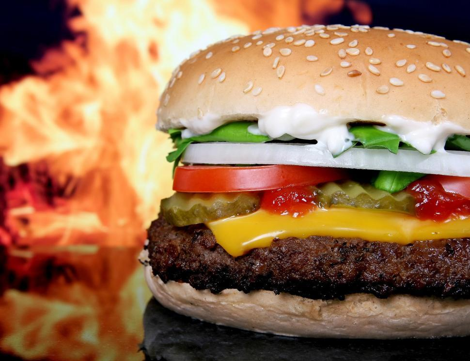 Download Free Stock Photo of fire flames broiled flame hamburger cheeseburger sandwich snack food food lunch bread meal dish dinner cheese lettuce tomato meat bun snack burger delicious fast beef tasty onion diet