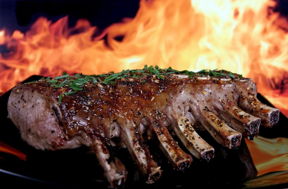 Download Free Stock Photo of ribs meat barbecue grilled fire grill seasoned rack rack of ribs