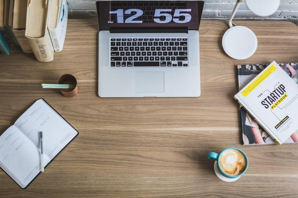 Download Free Stock Photo of Laptop On Desk From Above