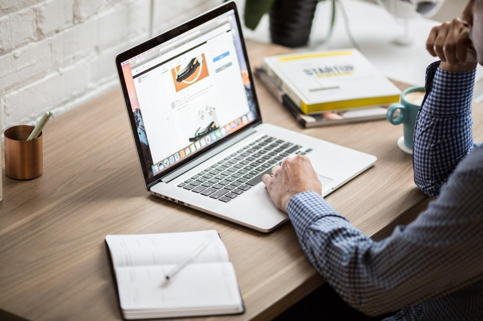 Download Free Stock Photo of Macbook Air On Desk