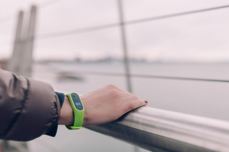 Download Free Stock Photo of Green Smart Watch on Wrist