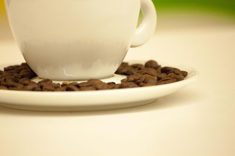 Download Free Stock Photo of Coffee cup with coffee beans