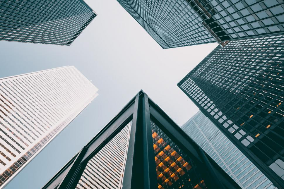 Download Free Stock Photo of Skyscrapers Looking Up