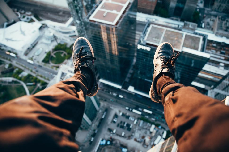 Download Free Stock Photo of Rooftopper Looking Down
