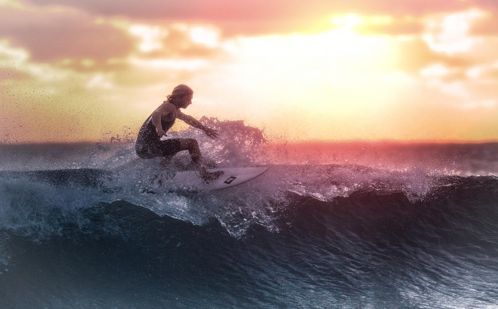 Download Free Stock Photo of Surfer at Sunset